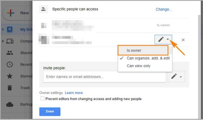 How to transfer ownership of Google Doc