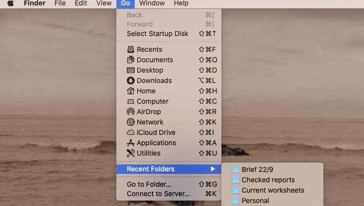 How to clear Recents in Finder