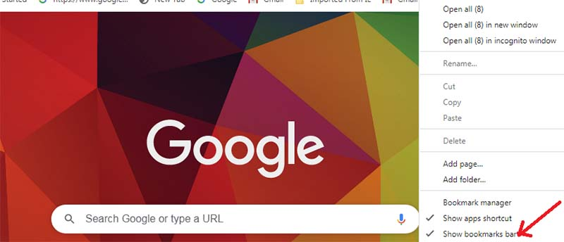 How to hide Chrome's bookmark toolbar