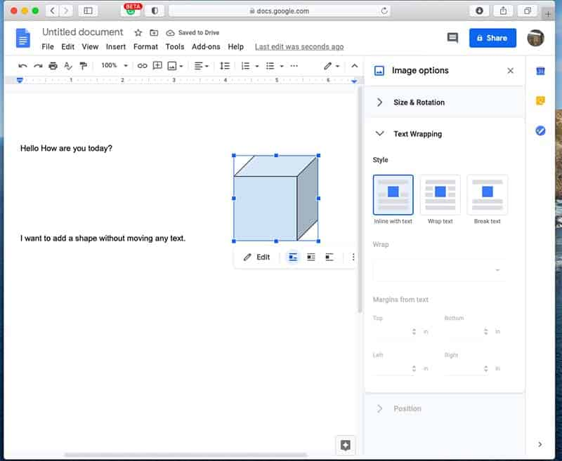 How to insert shapes in Google Docs