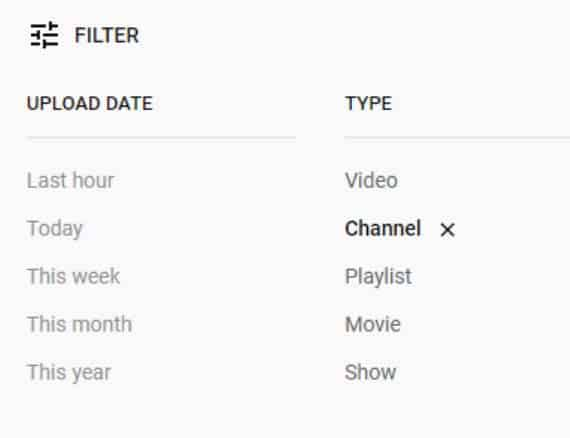 How to search YouTube channels