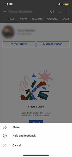 How to share a YouTube channel