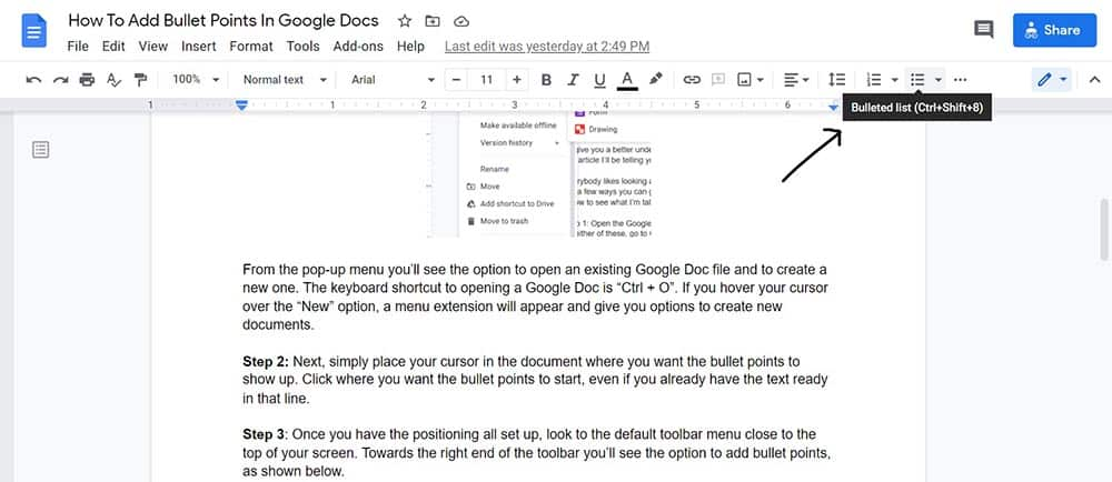How to add bullet points in Google Docs