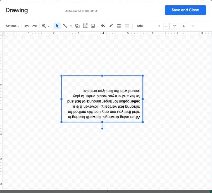 How to mirror text in Google Docs