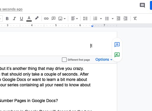How to number pages in Google Docs
