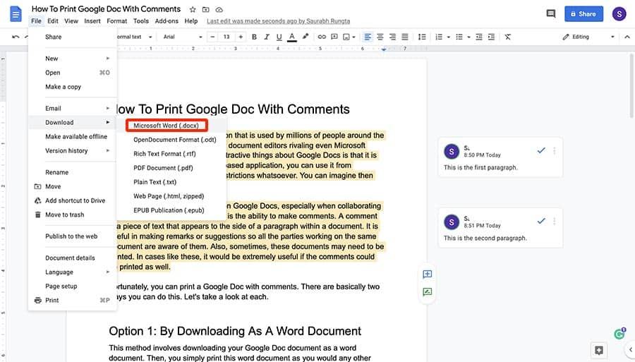 How to print Google Doc with comments