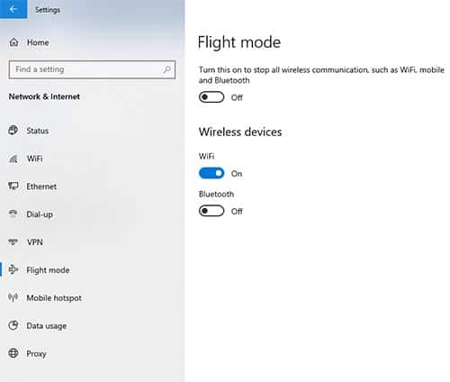 w to enable or disable Airplane mode on Windows 10