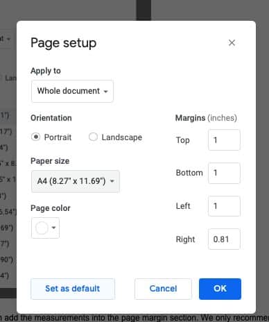 How to change page size in Google Docs
