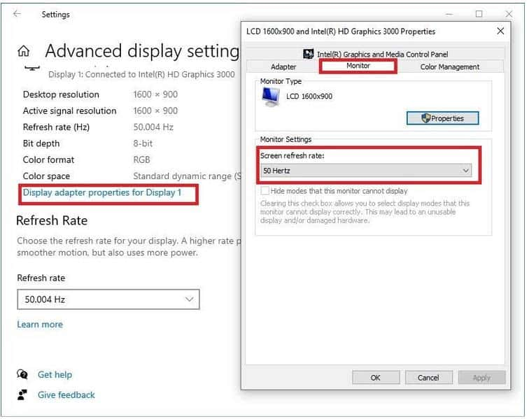 How to check monitor refresh rate in Windows 10