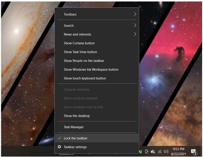 How to move or hide taskbar in Windows 10